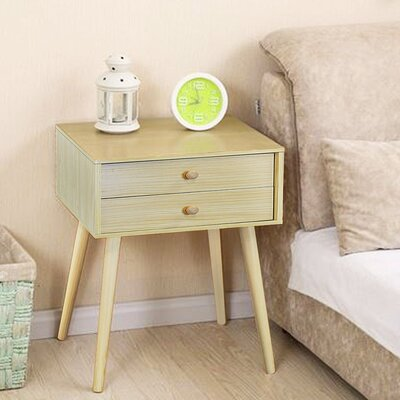 Claussen Modern 2 Drawer Nightstand Color: Natural Wood