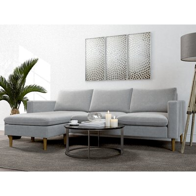 Berndt Reversible Sectional Upholstery: Heather Gray