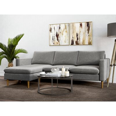Berndt Reversible Sectional Upholstery: Charcoal