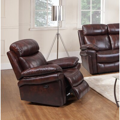 Asbury Leather Power No Motion Recliner Upholstery: Brown