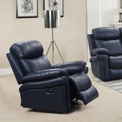 Asbury Leather Power No Motion Recliner Upholstery: Blue