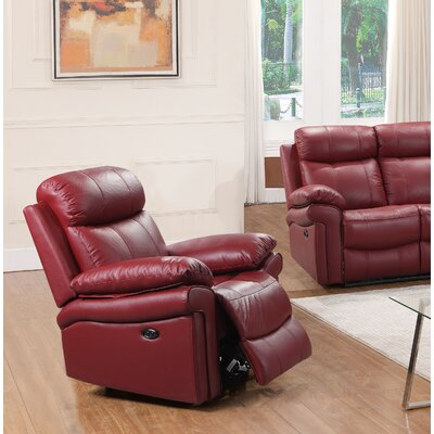 Asbury Leather Power No Motion Recliner Upholstery: Red