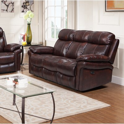 Asbury Leather Reclining Sofa Upholstery : Brown