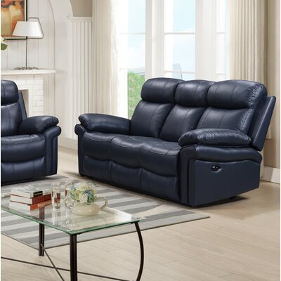 Asbury Leather Reclining Sofa Upholstery : Blue