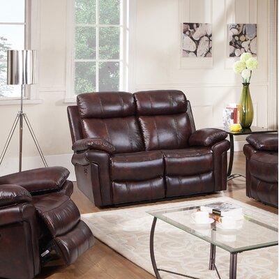 Asbury Leather Reclining Loveseat Finish: Brown