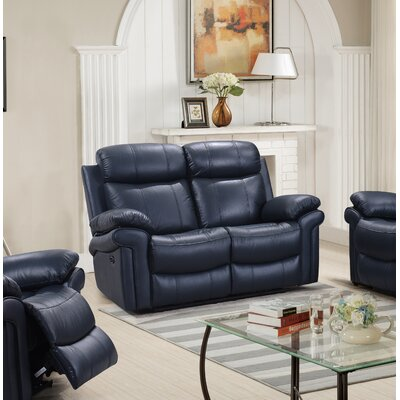 Asbury Leather Reclining Loveseat Finish: Blue