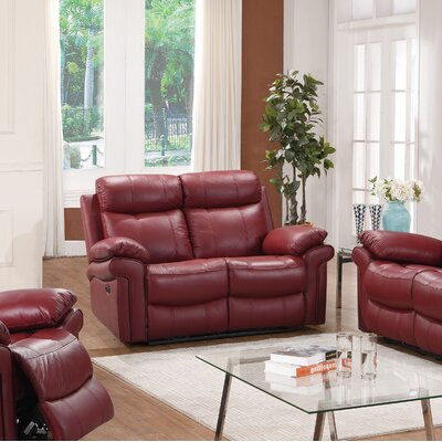 Asbury Leather Reclining Loveseat Finish: Red