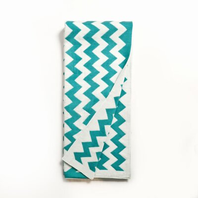 Zig Zag Cotton Throw Color: Teal