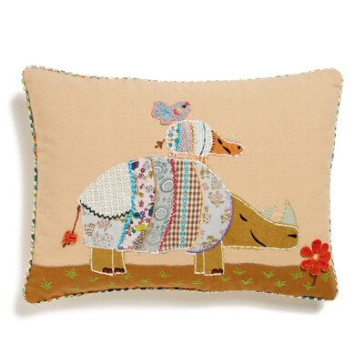 Rhino Accent Cotton Throw Pillow