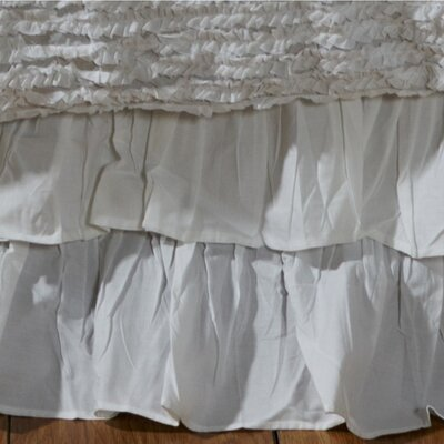 Double Ruffled 200 Thread Count Bed Skirt Size: King, Color: White