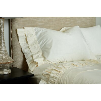 Double Ruffle Pillowcase Size: King, Color: Ivory