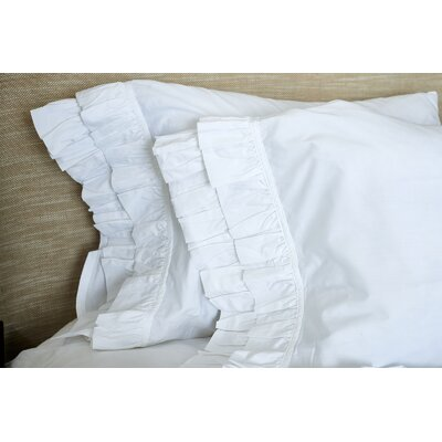 Double Ruffle Pillowcase Size: King, Color: White