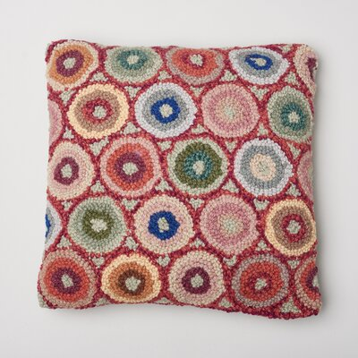 Coin Hooked Wool Throw Pillow Color: Red