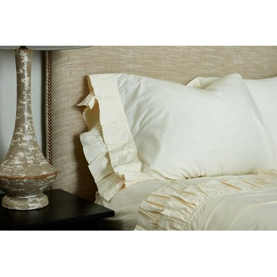 Double Ruffled 200 Thread Count 100% Cotton Sheet Set Color: Ivory, Size: King
