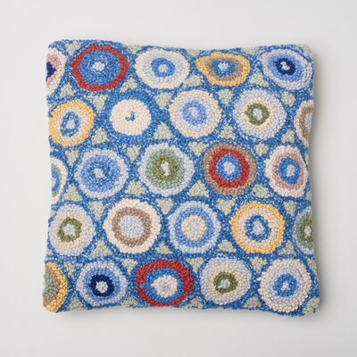 Coin Hooked Wool Throw Pillow Color: Blue