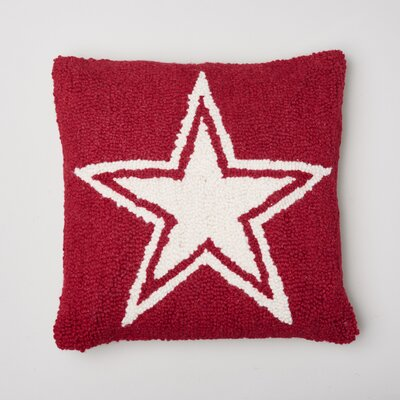 Star Decorative Wool Throw Pillow Color: Red