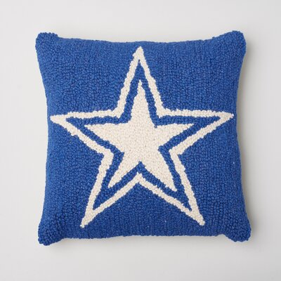 Star Decorative Wool Throw Pillow Color: Blue