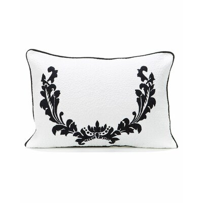Damask Cotton Lumbar Pillow Color: Black