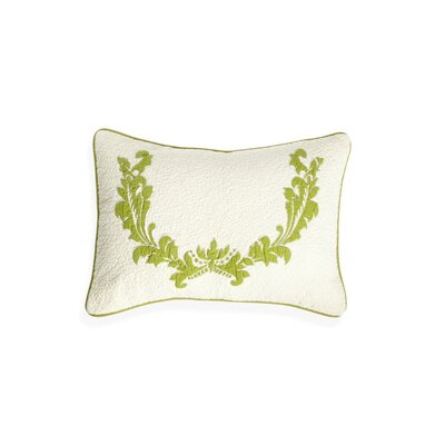 Damask Cotton Lumbar Pillow Color: Green