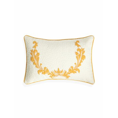 Damask Cotton Lumbar Pillow Color: Yellow
