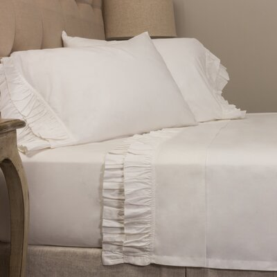 Double Ruffled 200 Thread Count 100% Cotton Sheet Set Color: White, Size: Full