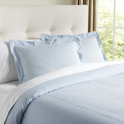 Elizabeth Seersucker Duvet Cover Color: Sky, Size: King