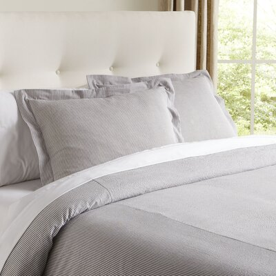 Elizabeth Seersucker Duvet Cover Color: Pewter, Size: Queen