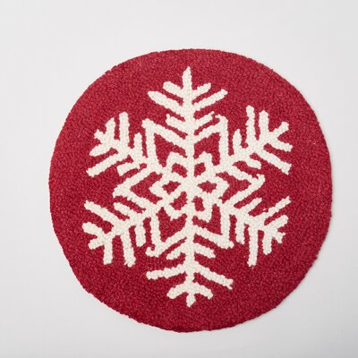 Snowflake-Pattern Hooked-Wool Dining Chair Cushion