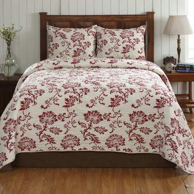 Cot De Rhone Cotton Floral Quilt Set Size: King