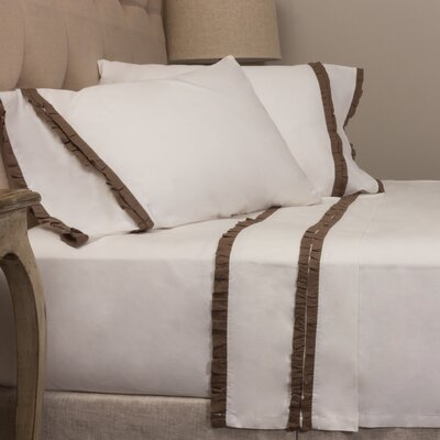 Dainty Ruffle Cotton Sheet Set Size: Queen, Color: Walnut