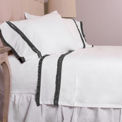 Dainty Ruffle Cotton Sheet Set Size: Full, Color: Charcoal