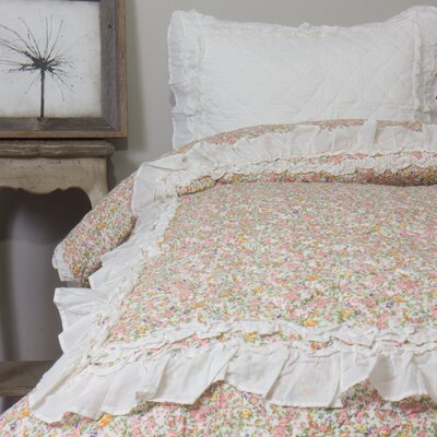 Addie Floral 2 Piece Ivory Quilt Set