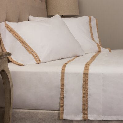 Dainty Ruffle Cotton Sheet Set Size: Full, Color: Taupe