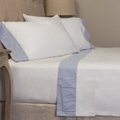 Striped 280 100% Cotton Sheet Set Size: Full, Color: Blue