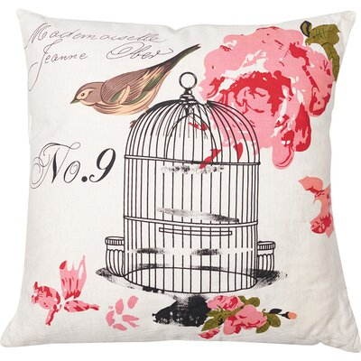 Birdcage Cotton Throw Pillow