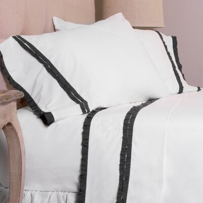 Dainty Ruffle Pillow Case Size: Standard, Color: Steel Blue