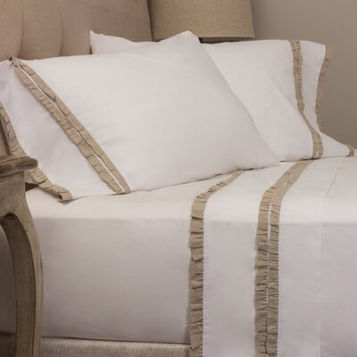 Dainty Ruffle Pillow Case Size: King, Color: Natural