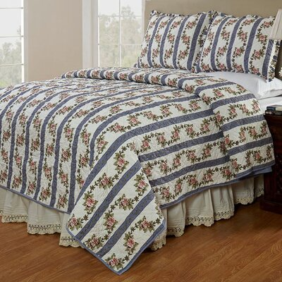 Celine Cornflower Reversible Quilt Set Size: Queen
