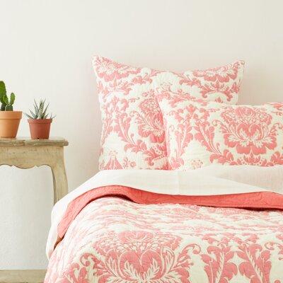 Dalilah Cotton Sham Color: Coral, Size: Standard