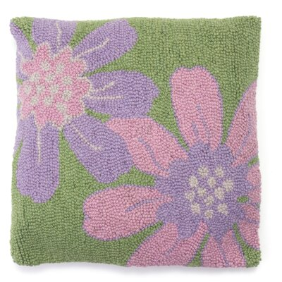 Gardenia Hooked Wool Throw Pillow