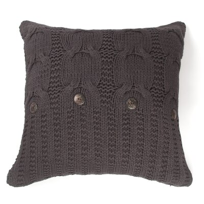 Cable Knit Cotton Throw Pillow Size: 26 x 26, Color: Steek Gray, Fill: Down/Feather