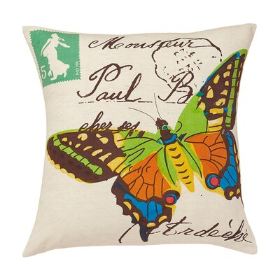 Woodland Butterfly Cotton Throw Pillow