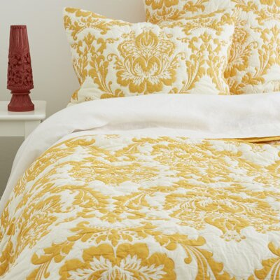 Damask Quilt Set Size: King, Color: Yellow