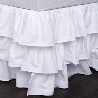 Double Ruffled 200 Thread Count Bed Skirt Size: Queen, Color: White