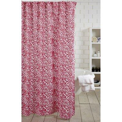 Zebra Stripe 100% Cotton Shower Curtain Color: Pink
