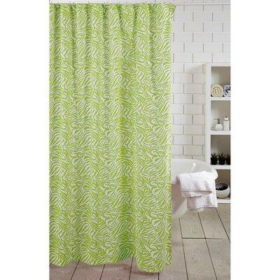 Zebra Stripe 100% Cotton Shower Curtain Color: Green