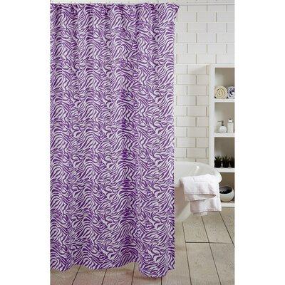 Zebra Stripe 100% Cotton Shower Curtain Color: Purple