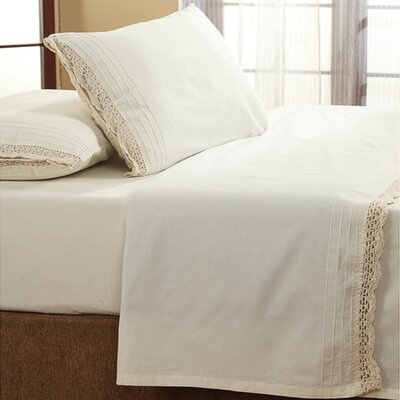 Dainty Crochet 200 Thread Count 100% Cotton Sheet Set Size: Full, Color: Ivory