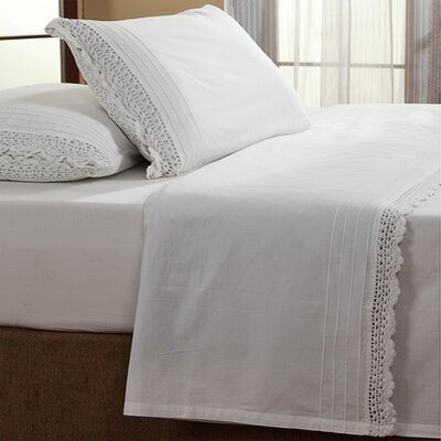 Dainty Crochet 200 Thread Count 100% Cotton Sheet Set Size: King, Color: White