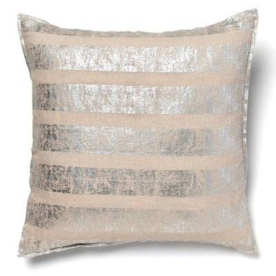 Kaleigh Striped Linen Throw Pillow Color: Silver